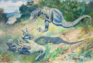 Charles R. Knight was one of the foremost American paleoartists. These predators likely represent paleontologists Othniel C. Marsh and Edward Drinker Cope, whose savage competition defined early American paleontology.