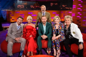 Graham Norton with (left to right) Bradley Cooper, Lady Gaga, Ryan Gosling, Jodie Whittaker and Rod Stewart on his chatshow