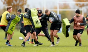 Saracens players during training this week.