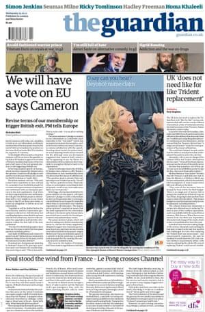 Guardian front page 2013 Cameron promises referendum
