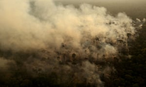 Smoke from a fire in an area of the Amazon rainforest near Porto Velho, Brazil.