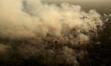Smoke from a fire in an area of the Amazon rainforest near Porto Velho, Brazil.