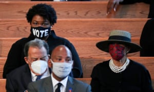 Former candidate for Georgia governor, Stacey Abrams, waits for the program to start, during the funeral of late Civil Rights leader John Lewis