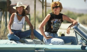 Geena Davis (right) with Susan Sarandon in Thelma and Louise.