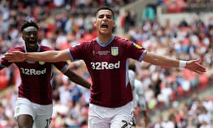 Anwar El Ghazi celebrates after scoring for Aston Villa in the Championship play-off final.