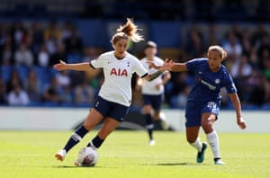 Coral-Jade Haines of Tottenham Hotspur Women is tackled by Drew Spence of Chelsea Women.