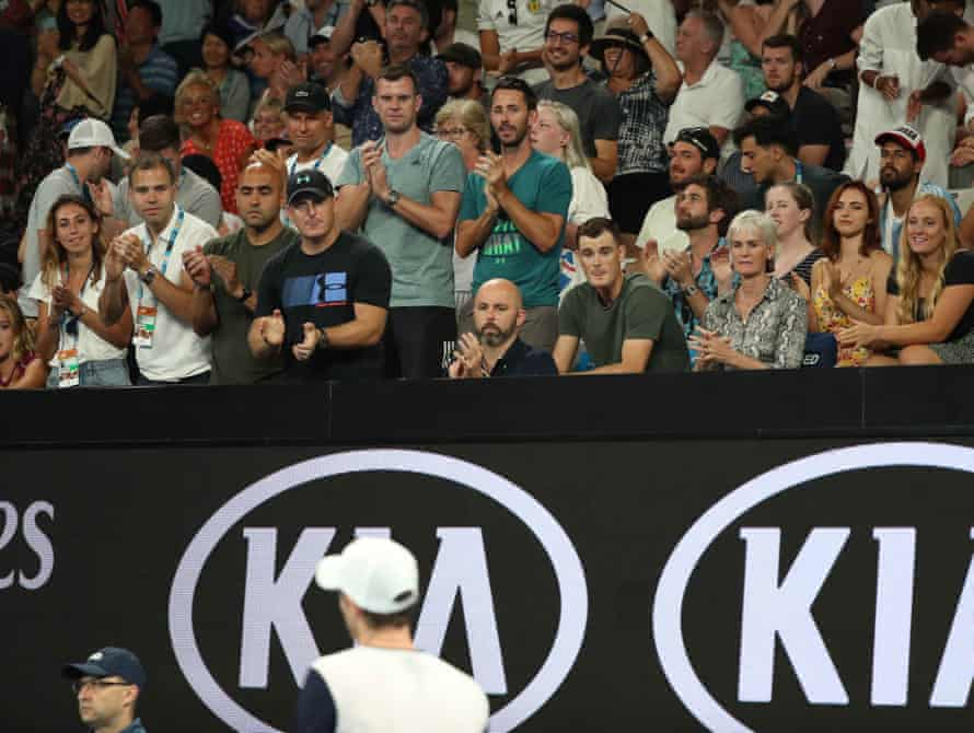 Judy Murray, Britain's Andy Murray's mother and Jamie Murray, his brother, watch Murray's match against Spain's Roberto Bautista Agut