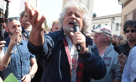 Beppe Grillo speaks during a rally three years ago.