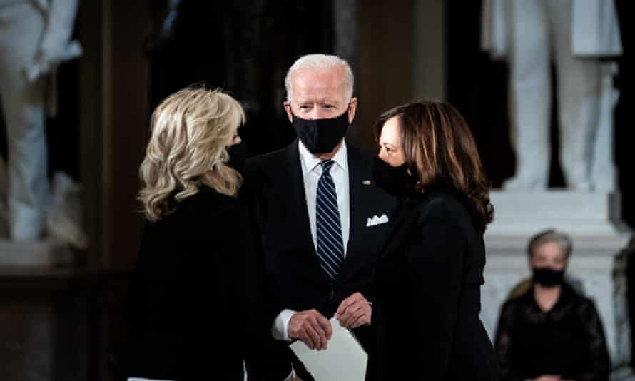 Joe Biden and his wife Jill with Kamala Harris in September, at the ceremony following the death of Ruth Bader Ginsburg.