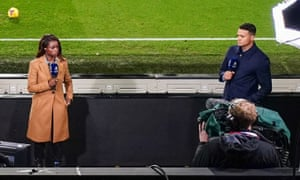 Eniola Aluko and Jermaine Jenas present the Amazon Prime Video Premier League coverage at Craven Cottage of Fulham v Brighton & Hove Albion on 16 December.