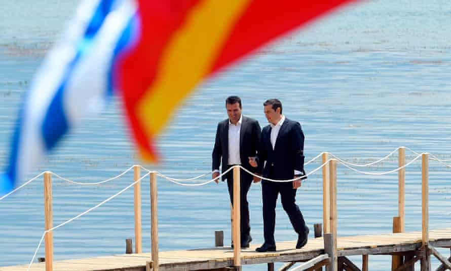 Macedonian prime minister, Zoran Zaev, left, with Greek prime minister, Alexis Tsipras