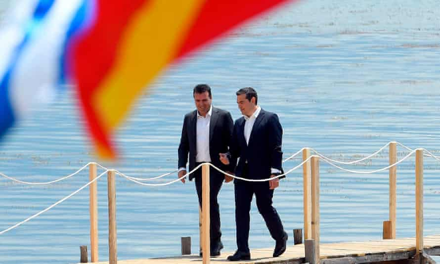 The prime ministers of North Macedonia, Zoran Zaev, left, and Greece, Alexis Tsipras, on the day they signed the agreement.
