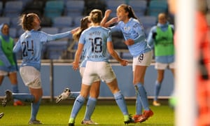 Caroline Weir of Manchester City celebrates with teammates Georgia Stanway, Ellen White and Keira Walsh after scoring the last minute winner.