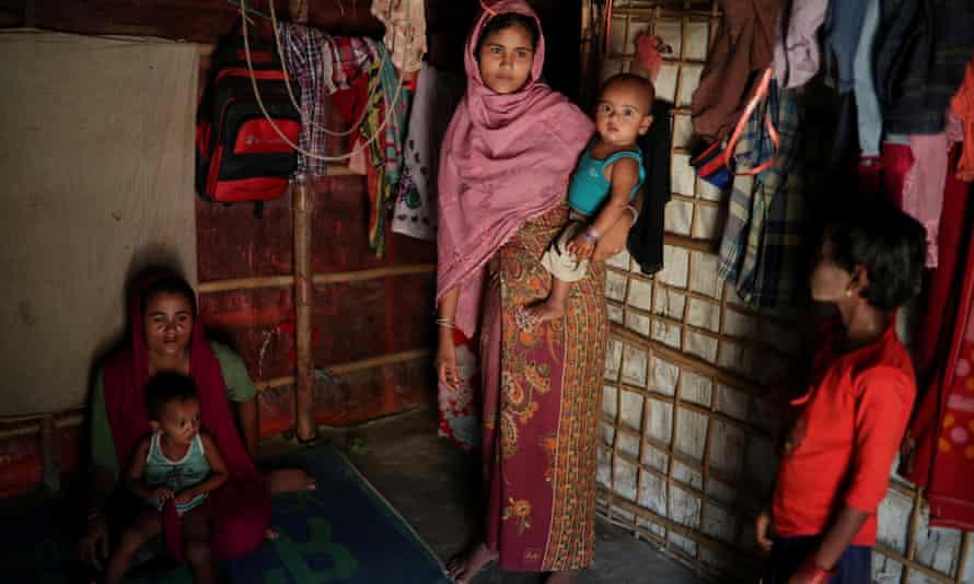Rohingya refugees in the Balukhali refugee camp in Cox's Bazar, Bangladesh
