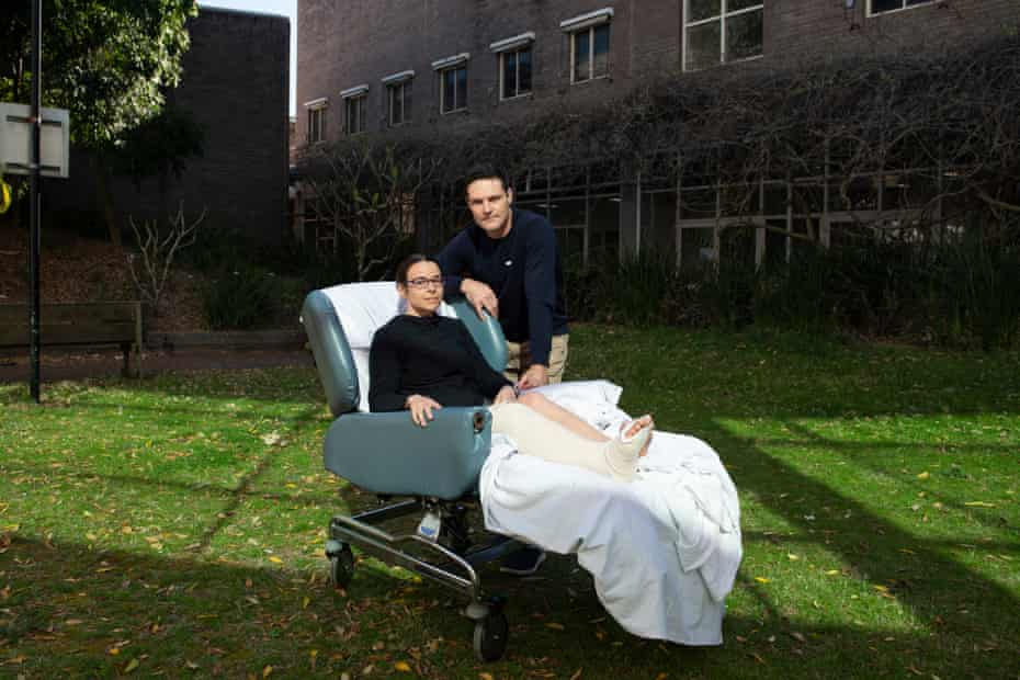 A portrait of Chantelle Doyle and Mark Rapley in the patient garden at John Hunter Hospital, Newcastle.