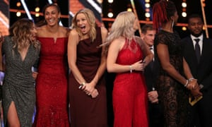 England's netball team show their delight after winning the BBC Sporting Moment of the Year Award