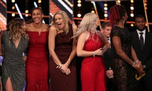 Members of England's netball team react after winning the moment of the year Award during the BBC sports personality of the year on Sunday.