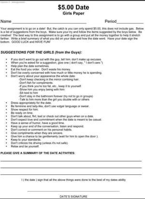 'The girls' assignment was essentially based around how to please boys.'