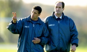 Chris Hughton assisting manager George Graham during a Tottenham training session in 1998