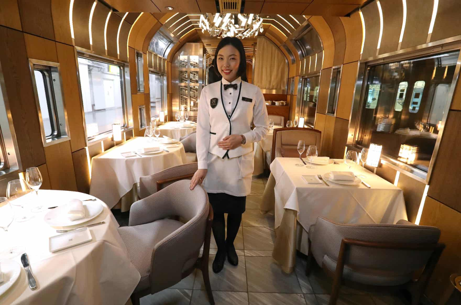The dining car, where guests can select from a menu devised by a Michelin-starred chef
