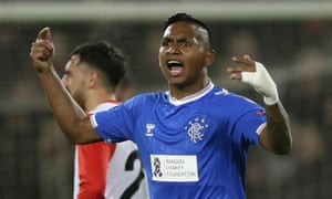 Rangers' Alfredo Morelos celebrates scoring his side's equaliser.