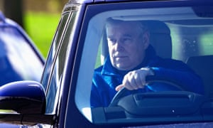 Prince Andrew at the wheel of a Range Rover in Windsor earlier this year.