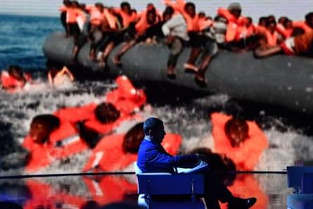 Salvini on the Italian talkshow Porta a Porta.