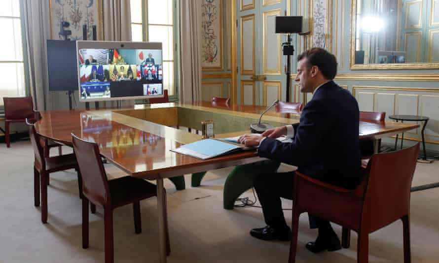 Emmanuel Macron takes part in the virtual G7 summit hosted by Boris Johnson.