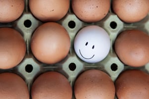 Single white egg with happy faces surrounded by blank brown eggs