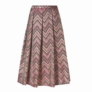 brown, gold, pink zig-zag pattern skirt Marks and Spencer