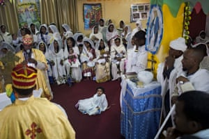 'To go to church is like water for fishes,' says Reverend Solomon Eyob Ghebrezgabiher, the spiritual leader of Saint Mary, an Eastern Orthodox church in south Tel Aviv. 'Without religion and church we cannot live,' he says, speaking in the Eritrean Tigrinya language through a translator