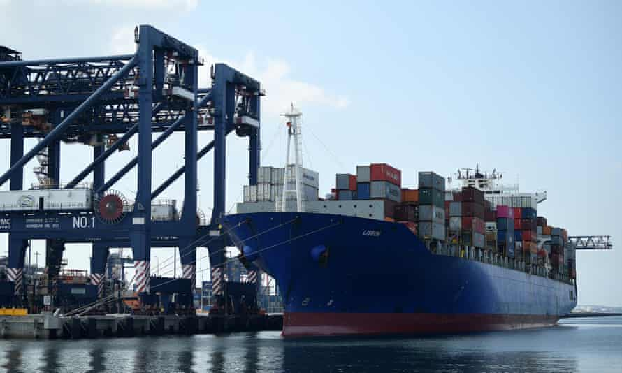 A container ship being unloaded at Sydney's Port Botany this year