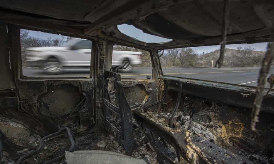A car that was destroyed by the Whittier Fire on Sunday near Santa Barbara, California.