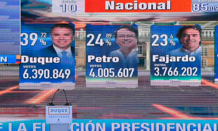 Preliminary results of the first round of Colombian elections seen on a TV screen.