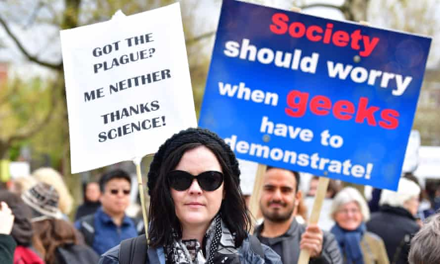"""Participants at the """"March for Sciences"""" in Amsterdam in April, ahead of a march in Washington, triggered by rising concern over populism and so-called alternative facts."""