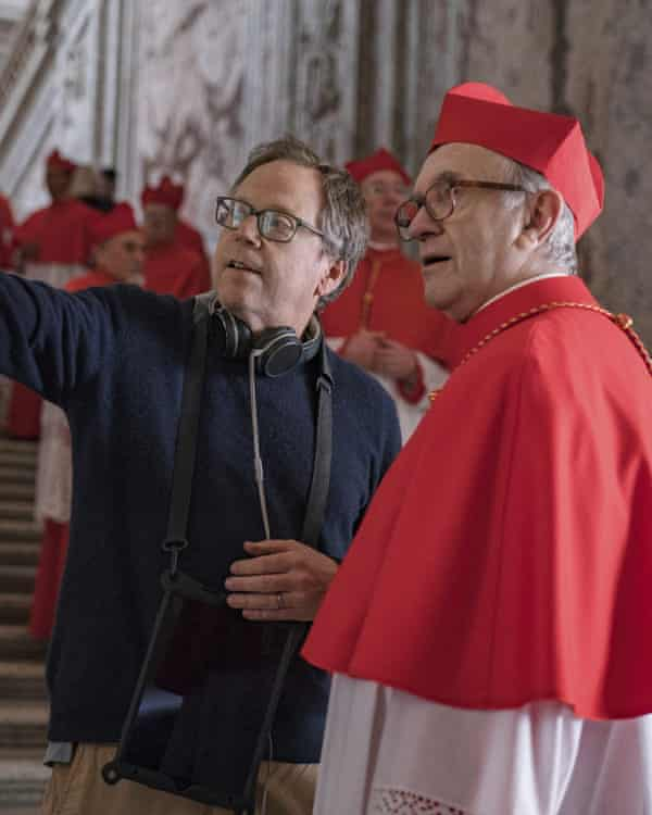 Director Fernando Meirelles and Jonathan Pryce as Pope Francis during the filming of 'The Two Popes'.