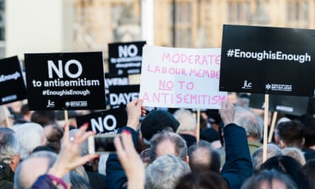 Demonstrators in Parliament Square protesting against antisemitism in the Labour party.