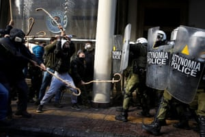 Farmers from the island of Crete clash with riot police outside the agriculture ministry