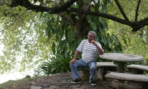 Derek Walcott at home in St Lucia. A museum celebrating the poet has closed after facing a funding shortfall.