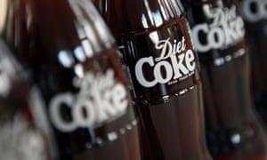 Diet Coke bottles in a row