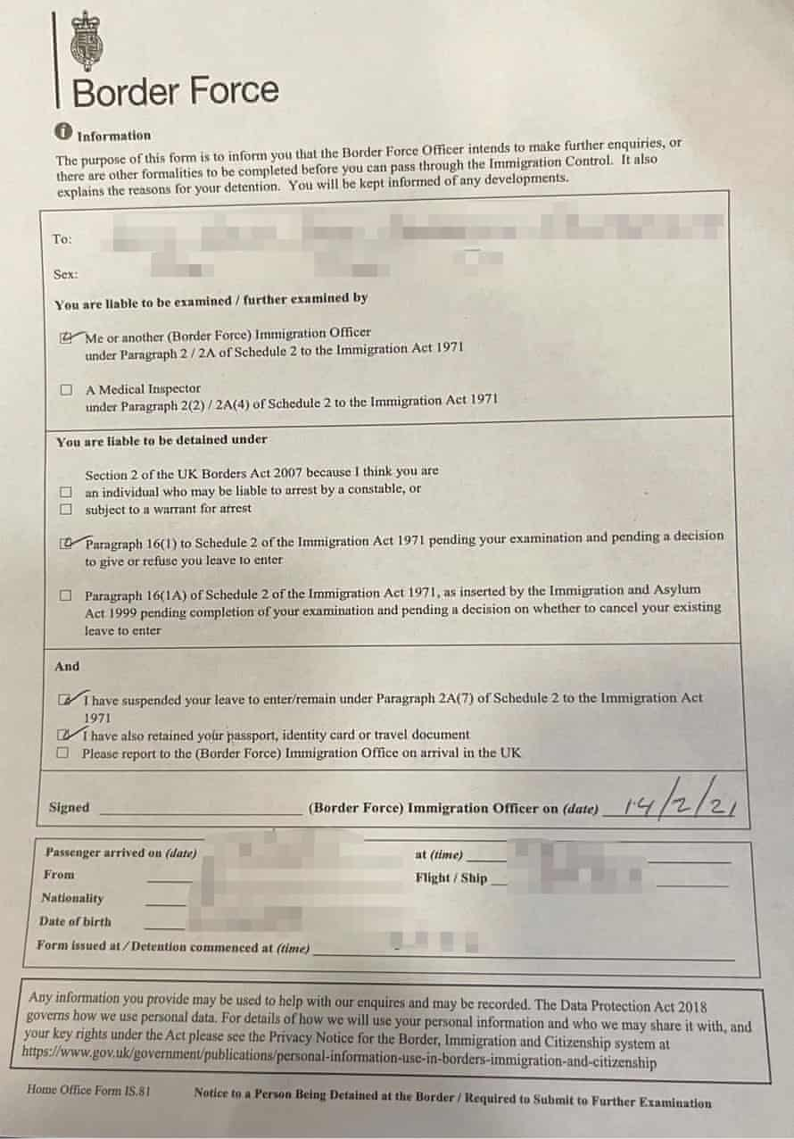 UK detention document issued to German national who has settled status.