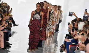 Models on catwalk at Roberto Cavalli show