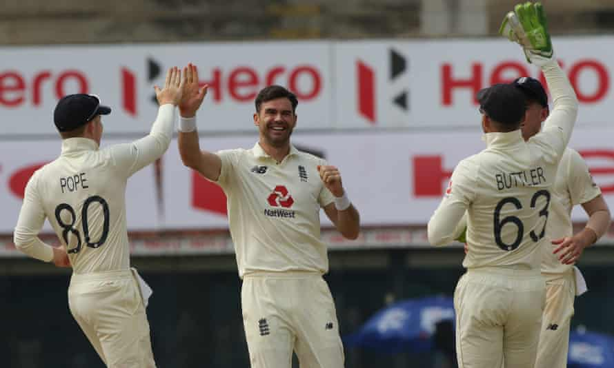 Jimmy Anderson (centre) celebrates on the final day of the first Test in Chennai when his three quick wickets set England on the way to victory.