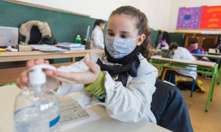 A pupil in Montevideo, Uruguay, during the first phase of the country's gradual reopening of schools.