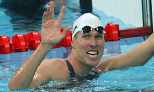 Klete Keller celebrates a relay victory at the 2008 Olympic