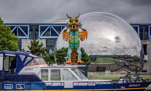 Paris, France A Mexican Alebrije, one of many statues representing several animals, is seen outside the Géode at the Cité des Sciences. They will be exhibited until August.