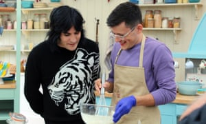 Manages to make a great cake with about three fingers ... Michael and Noel in The Great British Bake Off.