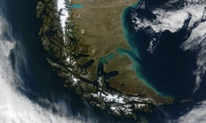 Satellite image of southern Patagonia, shared by Argentina and Chile