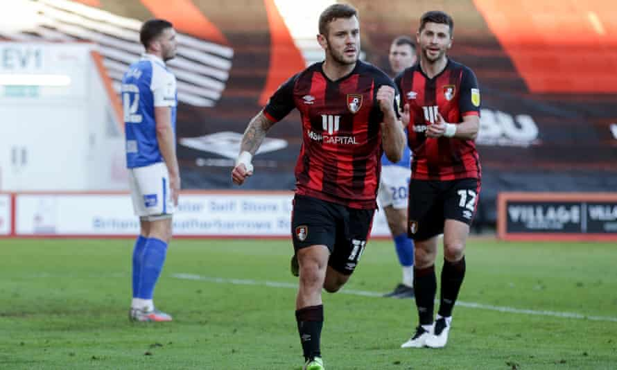 Jack Wilshere celebrates scoring as the midfielder helped Bournemouth to a much-needed win