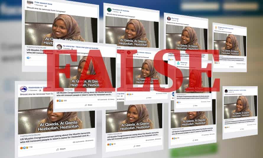 Identical Facebook posts attacking US senator Minnesota Democrat Ilhan Omar across alt-right Facebook accounts.